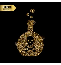Gold glitter icon of toxin isolated on vector