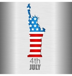 Background with us flag and statue of liberty vector