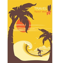 tropical paradise with palms island and surfer vector image
