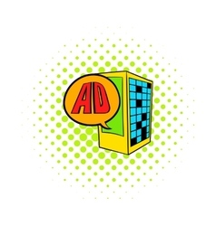 Billboard on a building wall icon comics style vector image vector image