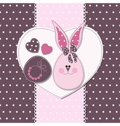 Card with bunny girl for invitations vector image