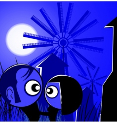 cartoon lovers at night vector image