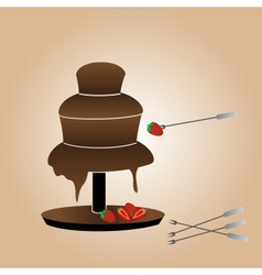 chocolate fountain and strawberries eps10 vector image vector image