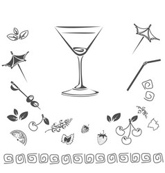 cocktail icon set vector image vector image