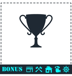 Cup trophy icon flat vector