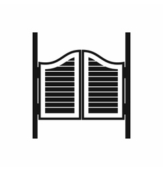 Doors in western saloon icon simple style vector