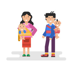 Father and mother holding children in sling scarf vector