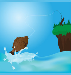 fisherman catching a green fish at sunset vector image