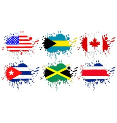 Flags of North America as spots vector image vector image