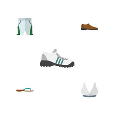 Flat icon dress set of trunks cloth sneakers vector
