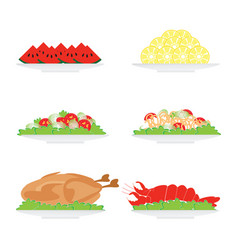 Food on plate isolated on white background vector
