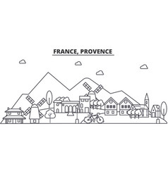 France provence architecture line skyline vector