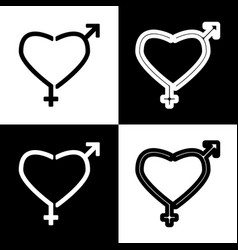 Gender signs in heart shape black and vector