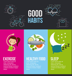 Good habits exercise healthy food sleep lettering vector