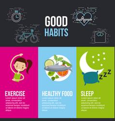 Good habits exercise healthy food sleep lettering vector