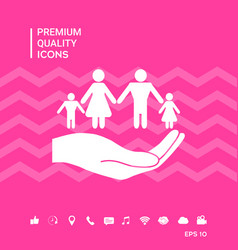 Hand holding a symbol of family family protect vector