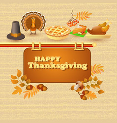 happy thanksgiving card autumn and thanksgiving vector image