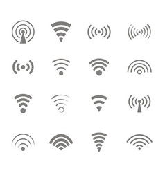 icons with wireless and wifi symbols vector image