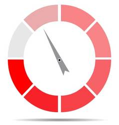 Indicator round red with pointer needle vector image vector image