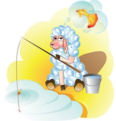 Lamb fishing dreams of gold fish vector image
