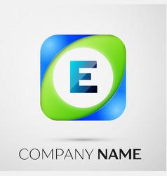 Letter e logo symbol in the colorful square vector