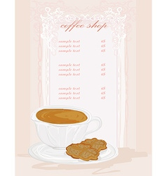 Menu coffee shop card vector