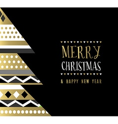 Merry Christmas gold abstract tree card design vector image
