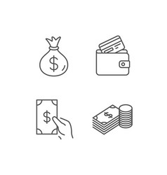Money bag cash and wallet line icons vector