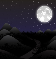 Night landscape in the full moon vector image vector image