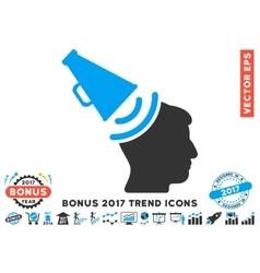 Propaganda megaphone flat icon with 2017 bonus vector