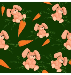 Rabbit with carrot seamless pattern green vector