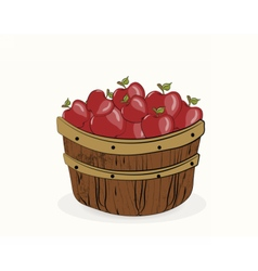 Red apples in a wooden basket vector image vector image