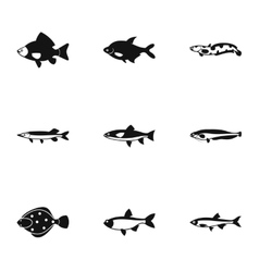 River fish icons set simple style vector