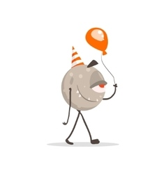 Round One-eyed Monster In Party Hat With Balloon vector image