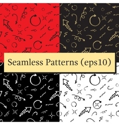 Seamless doodle ink pointer and arrow pattern set vector