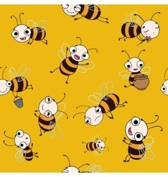 Seamless pattern with cute cartoon bees vector