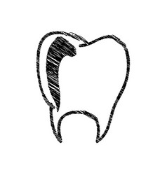 silhouette drawing tooth dental icon vector image vector image