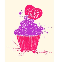 Silhouette of colorful cupcake with heart vector image