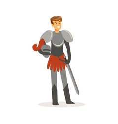 Smiling knight standing with sword european vector
