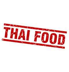Square grunge red thai food stamp vector