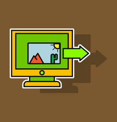 Sticker photos icon on laptop screen multimedia vector