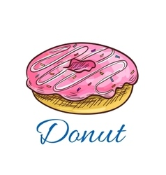Sweet glazed donut with sprinkles sketch vector image