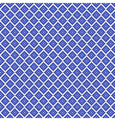 Traditional blue pixel seamless square pattern vector image