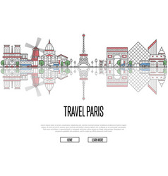 Travel tour to paris poster in linear style vector