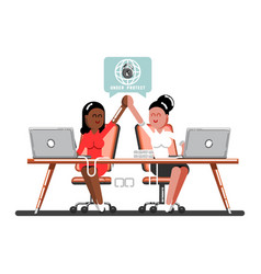 Two woman celebrate that work done successful vector