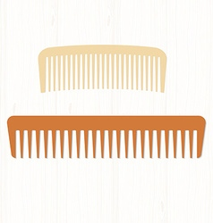 Two wooden comb hair pale and dark hairbrushes on vector