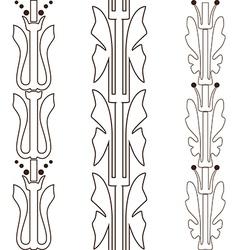 Vintage decorative set outline black floral vector