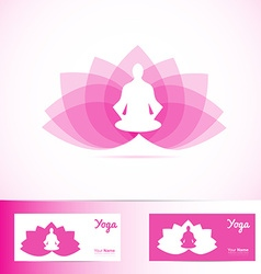 Yoga lotus flower meditation man logo shape vector