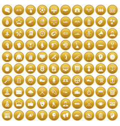 100 victory icons set gold vector