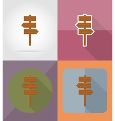 wooden board flat icons 10 vector image